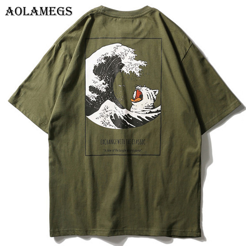 Aolamegs   T     Shirt   Men Japanese Retro Men's Tee   Shirts   O-neck   T     Shirt   Cotton Simple Fashion High Street Couple Tees Streetwear