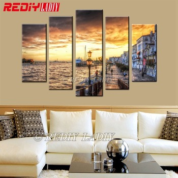 REDIY LADIY Diamond Embroidery Triptych Full Square Diamond Painting Cross Stitch Seaside House Crystal Mosaic Modular Picture