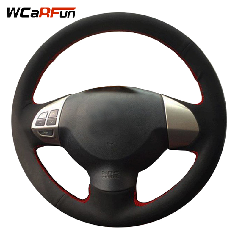 WCaRFun Black Suede Auto Car Steering Wheel Covers for Mitsubishi Lancer EX10 Lancer X O ...
