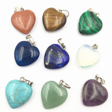 Pendant Sandstone Amethysts Crystal Jades Charms Assorted Jewelry-Making Heart-Shape