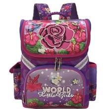 New Grade 1-3-5 Student Girls Butterfly Flower Kids Orthopedic School Bags For Girls 2017 Children Backpack School Bag