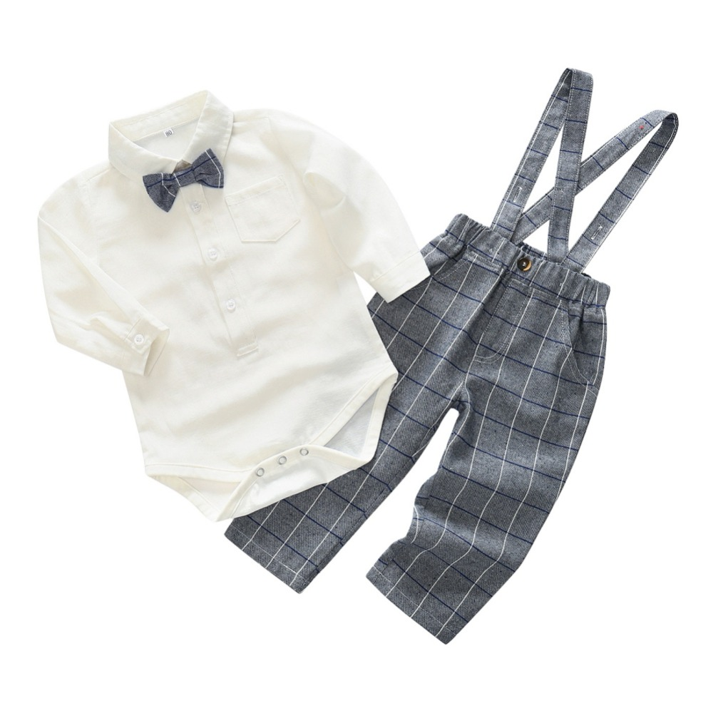 Baby Sets Spring New England Gentleman Baby Boy Suit With Long Sleeves Shirt Suspenders Trousers 2 pieces
