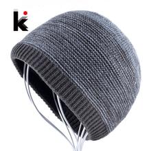 купить Men's Winter Skullies Knitted Wool Beanies Hat For Men Hip Hop Beanie Caps for Boy Warm Knit Bonnet Bone Gorros Homens Inverno по цене 325 рублей