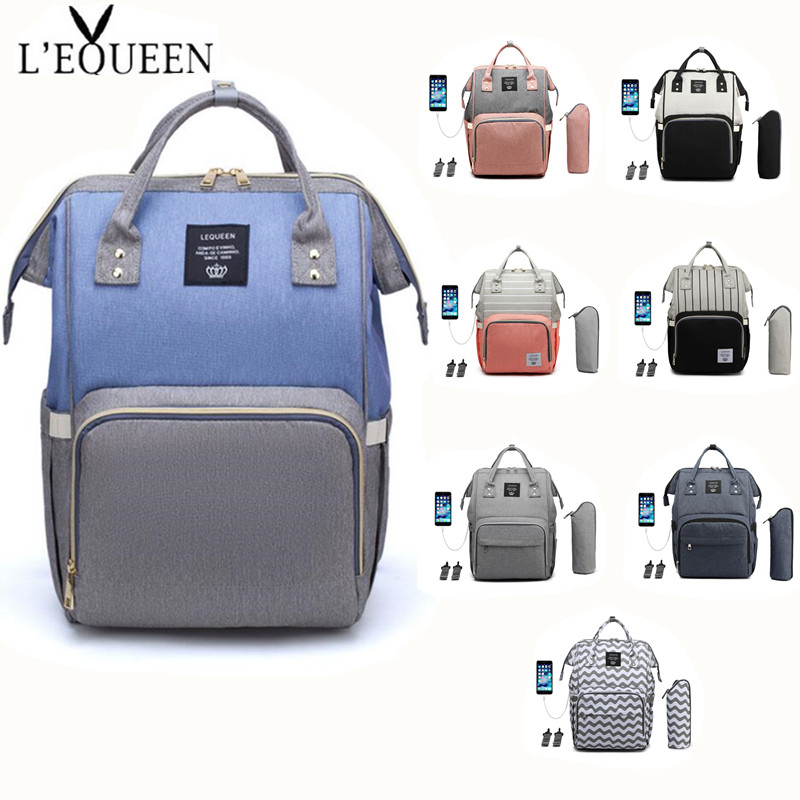 LEQUEEN Baby Diaper Bag Large Capacity Travel Backpack Maternity Wet Bag Waterproof Pregnant Bag USB Cable+milk Bottle+hooks