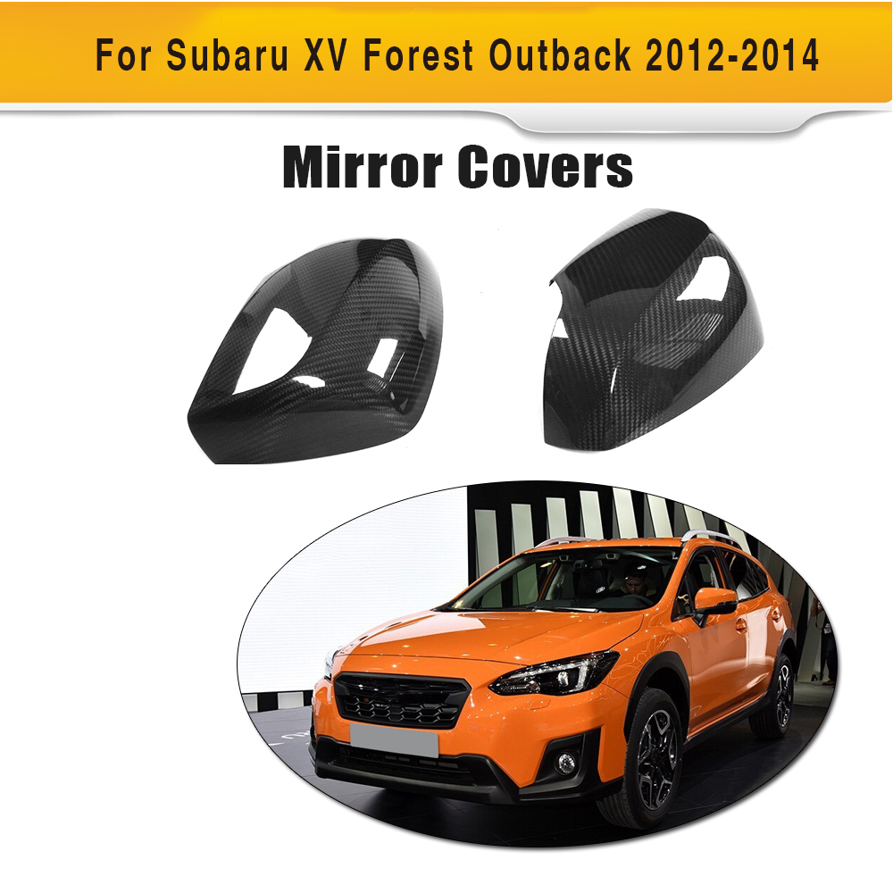 Carbon Fiber Add On Style Rearview Mirrors Caps Covers for Subaru XV Forester Outback 2012-2014 2PCS Car Styling 2pcs car red black white rearview mirrors for honda civic 2012 2013 2014 accessories