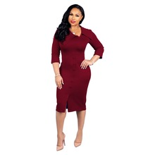 Button Hem Split Bodycon Skinny Midi Dress Elegant Dress Turn Down Collar 3/4 Sleeve Women Dress Front Split Vintage Dress недорого