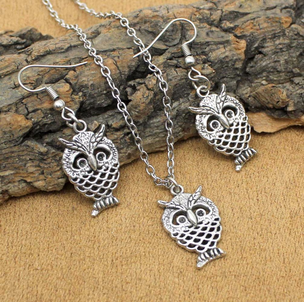 Fashion Tibetan Silver Owls Necklace Earrings Jewelry Sets For Women Girls Party Gift