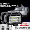 Car Styling 2pcs 5INCH 72W Two Rows Led Light Bar Modified Off Road Lights Roof Light