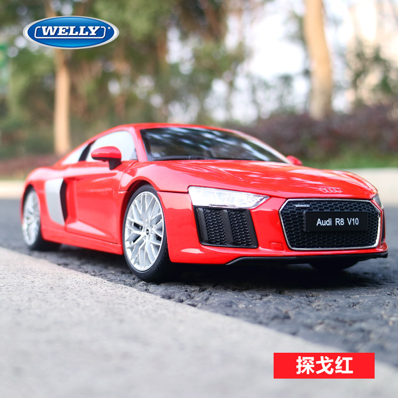 1 18 Scale Diecast Alloy Car Toys Model For Audi R8 Sports Car Model With Suspension