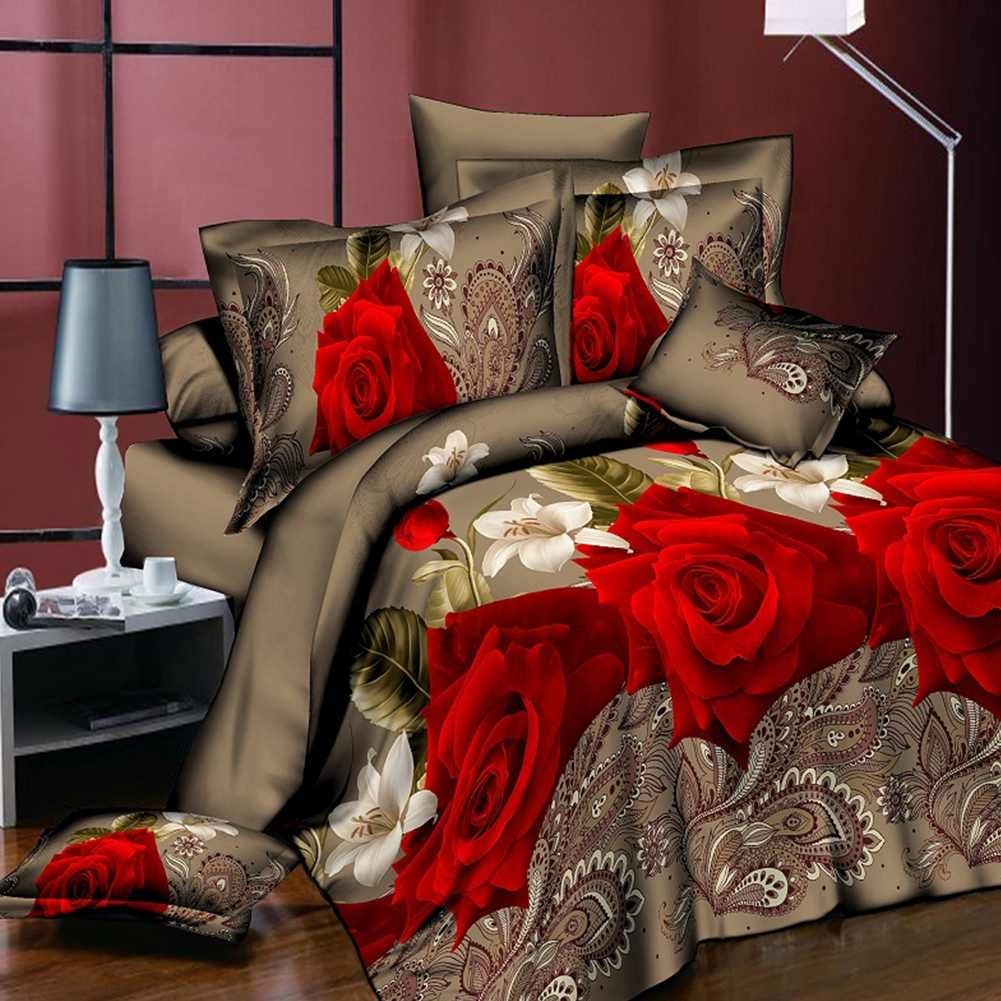 Double suit Plant printing 3d bedding sets reactive print scenic quilt cover pillow case twin/queen bed Breathable fabric