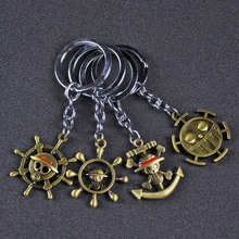 цена на One Piece Luffy Hat Key Ring One Piece Thousand Sunny Pirate Ship toy Banner Pendant One Piece Anime Keychain