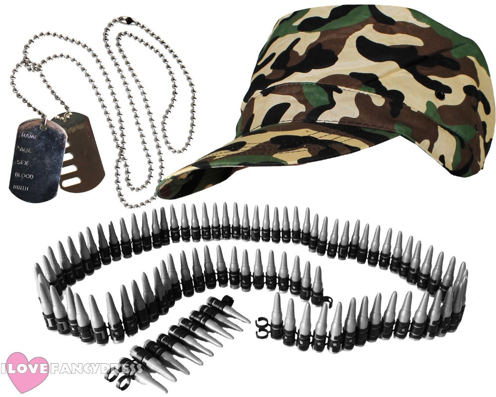 ADULT ARMY SOLDIER CAMO CAP BULLET BELT AND DOG TAG NECKLACE FANCY DRESS COSTUME ACCESSORIES LADIES MENS HEN STAG PICK ACCESSORY