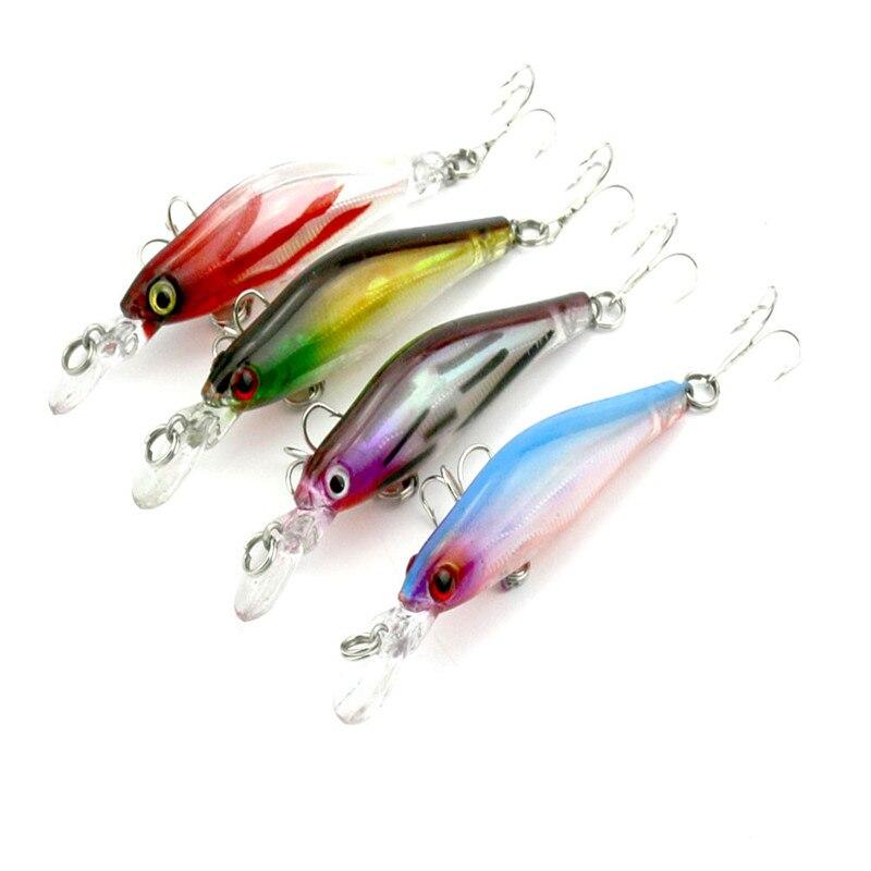 4 pcs fishing lures crankbaits Deep swim hard bait 8CM 6.3G artificial baits minnow fishing wobbler plastic fishing tackle