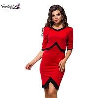 Fantaist Elegant Stretch Women Dress V Neck Empire Patchwork Tunic Red And Black Wedding Party Business