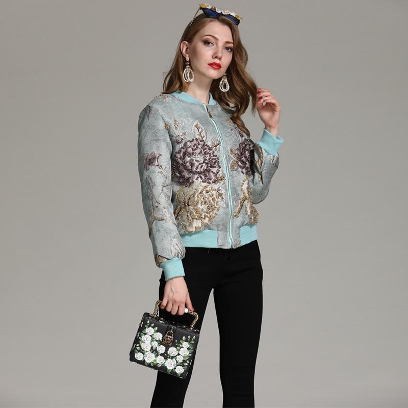 Élégant Longues Manuel Automne Court Europe Manteau Outwear Manches De Perles 2018 Imprimer Floral Nouveau Hiver Femmes pnCqX