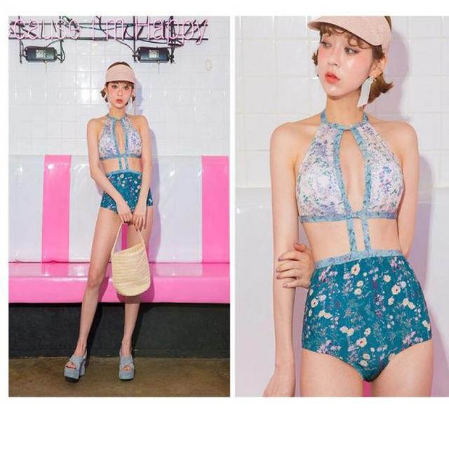 UCHIHA LQ Bikini 2017 New Design High Quality Floral Special Blue Japanese Style One piece Swimsuit Girls High Cut Swimsuit