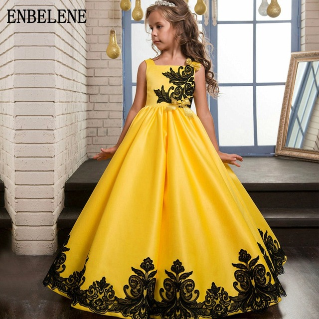 08529c92b 2018 أعلى درجة الفتيات أنيقة طويلة ألف خط الأميرة فساتين الأطفال الأصفر  الاطفال كبيرة الطابق طول