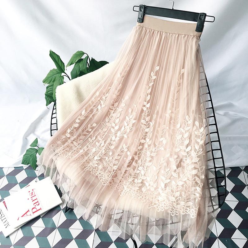 Women Floral Embroidery A-line Skirt Tutu Mesh Skirt Faldas Mujer Moda 2019 Elegant Tulle Long Pleated Skirt Women Midi Skirt