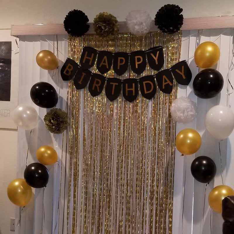 Selamat ulang tahun spanduk balon Jaringan Pom Pom Untuk 16th ke-21-18 30th 40th 50th 60th dewasa kid boy gadis dekorasi emas hitam