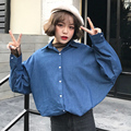 New 2017 Spring Fashion Long Loose Denim Women Blouses Long Sleeve Shirts Women Tops Jeans Blouse Female  XY3014