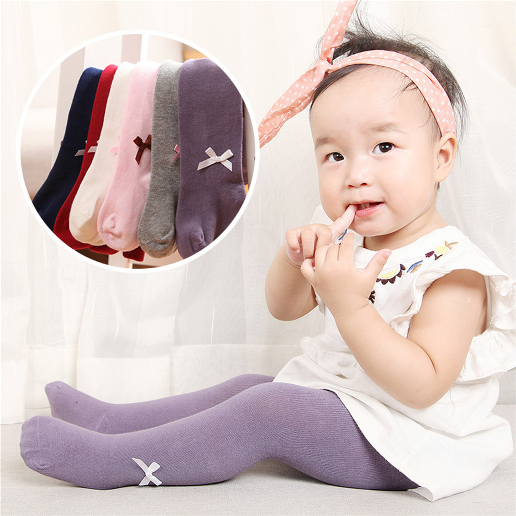 купить Cotton Baby Girl Tights Pantyhose Toddler Tights For Girls Autumn Solid Color Bow Baby Stockings по цене 161.83 рублей