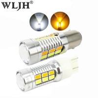 WLJH 2x1157 7440 7443 3157 Led 5630 SMD Lentille Double Couleur blanc Ambre Switchback LED Auto Voiture DRL Clignotants Ampoules 12 v 24 v