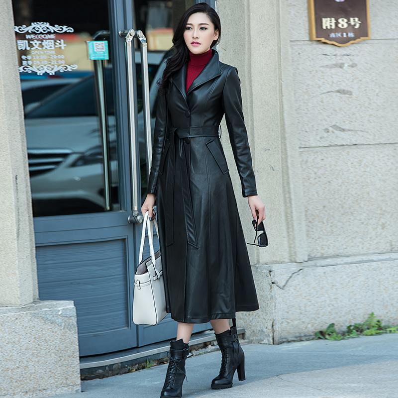 Aliexpress.com : Buy XS 8XL Women Black Maxi Pu Leather coat ...