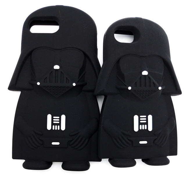 Hot 3D Star Wars Black Darth Vader Cartoon Silicone Phone Cases Cover For iPhone 8 7 7Plus 4 4S 5 5G 5S 6 6G 6S 6Plus Back Cover