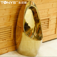 tonys Toilet Sensor gold urinal one piece inductor urinal for KTV Hotel Club bathroom self cleaning anti microbial gold urinal
