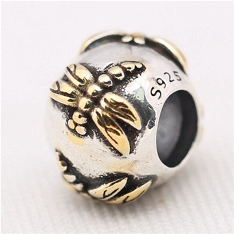 100% Authentic 925 Sterling Silver Bead Gold Dragonfly Charm Fit Pandora Bracelets Bangles Women DIY European Jewelry Gift