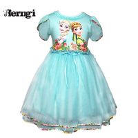 Girl Elsa Dress Summer New Brand Baby Kid Clothes Princess Anna Elsa Dress Snow Queen Cosplay