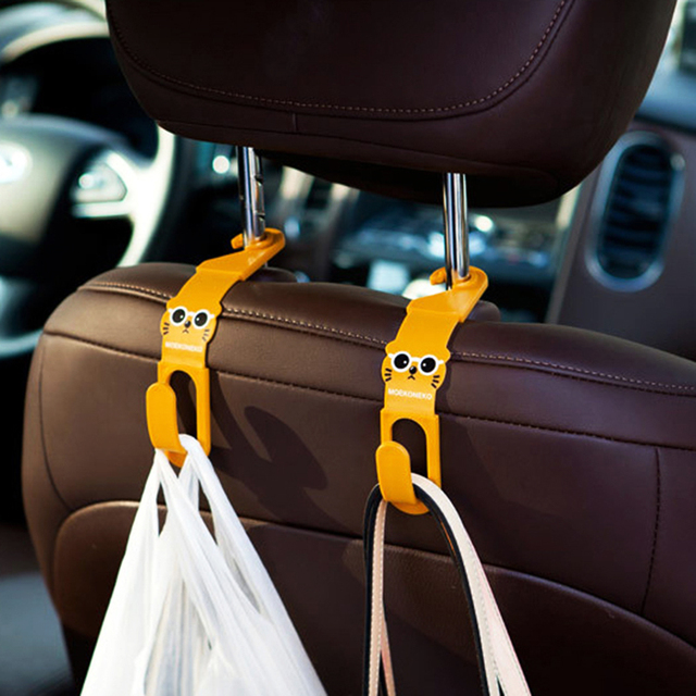 OTOKIT 2pcs Universal Cute Car Back Seat Headrest Hanger Holder Hook for Bag Purse Cloth Grocery Storage Auto Fastener Clip