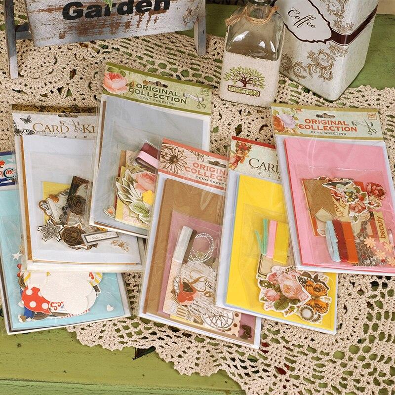 цена на vintage card kit gift pack for birthday,diy kids card making kit