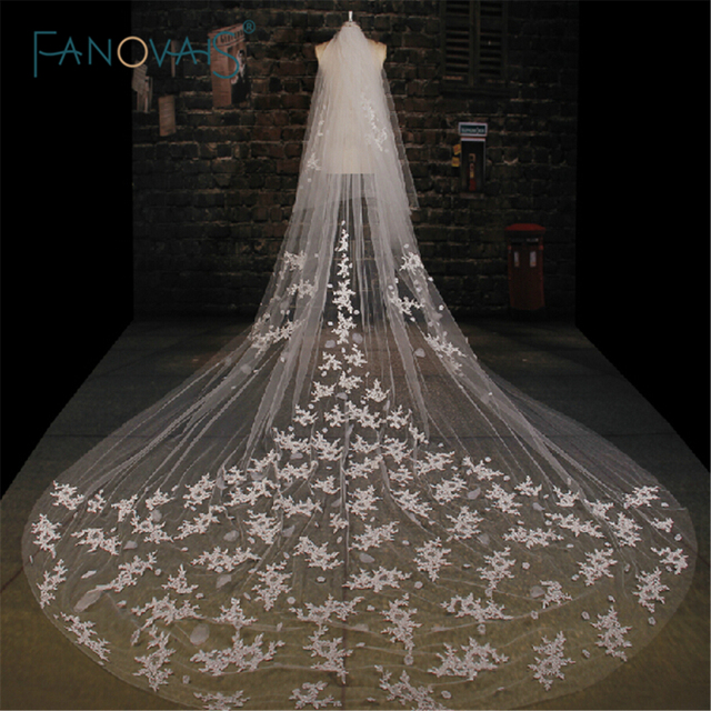 2019 Top Quality Appliqued One-Layers Bridal Veils 3.5M Wedding Veil long White wedding accessories WV-1007