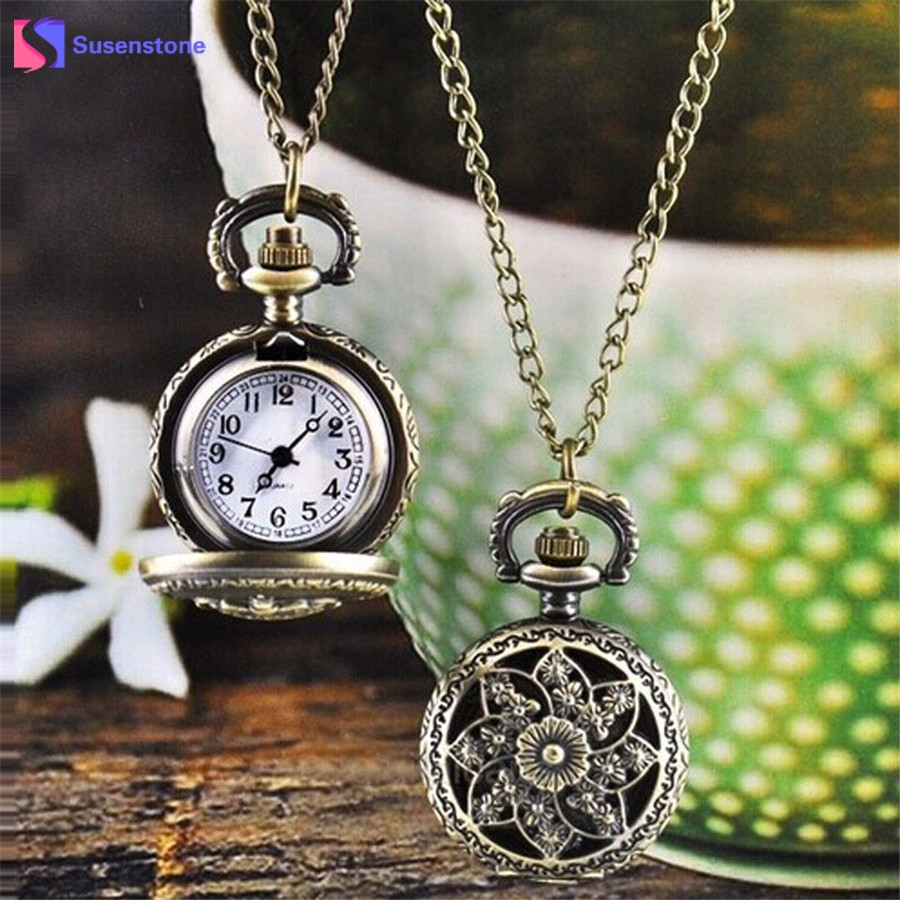 Vintage Retro Bronze Pocket Watch Men Women Vogue Analog Quartz Pendant Watch Chain Necklace Watches Flower/Crown Hour Clock retro bronze flower hollow alloy quartz pocket watches necklace chain gift w208 exquisite designs new vintage casual trendy