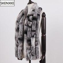 Winter Women Real Rex Rabbit Fur Scarf 100% Natural Soft Chinchila Rex Rabbit Fur Scarves Lady Warm Soft Rex Rabbit Fur Muffler