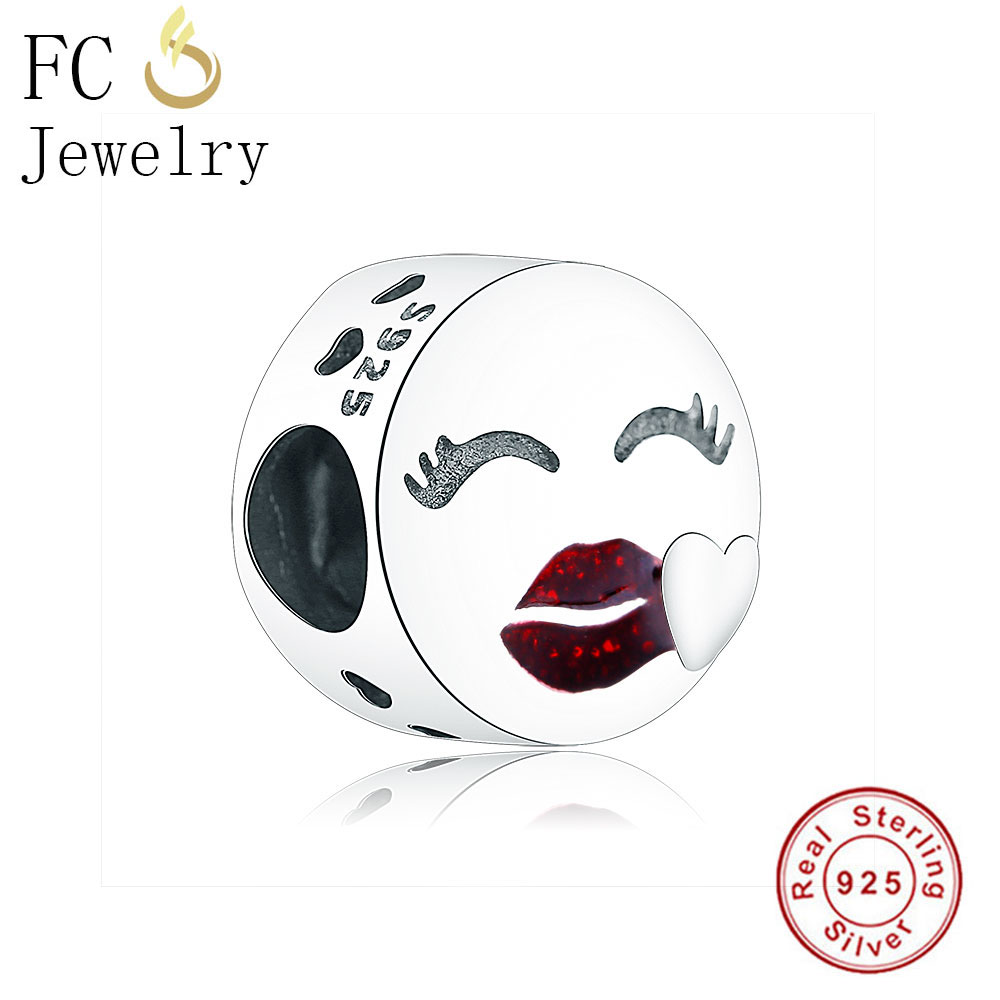 FC Jewelry Fit Original Pandora Charms Bracelets Authentic 925 Silver Face Red Lip Love Kiss Beads for DIY Making Gift Berloque
