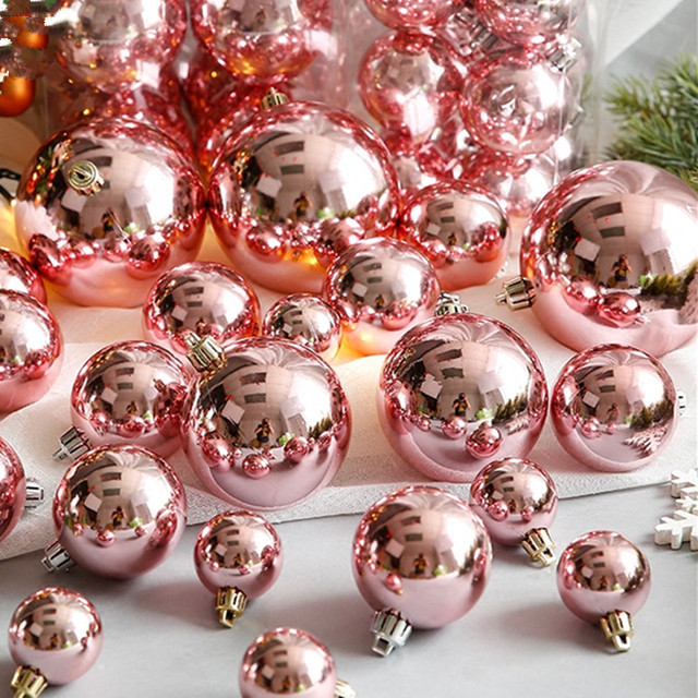 37pcs Mix 4 8cm Pink Rose Gold Pearl Christmas Ball For Decoration Tree Ornaments Wedding
