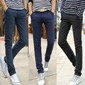 2016 dos homens Novos calça do terno de negócio dos homens slim fit casuais formais reta calças compridas grossas calças lápis