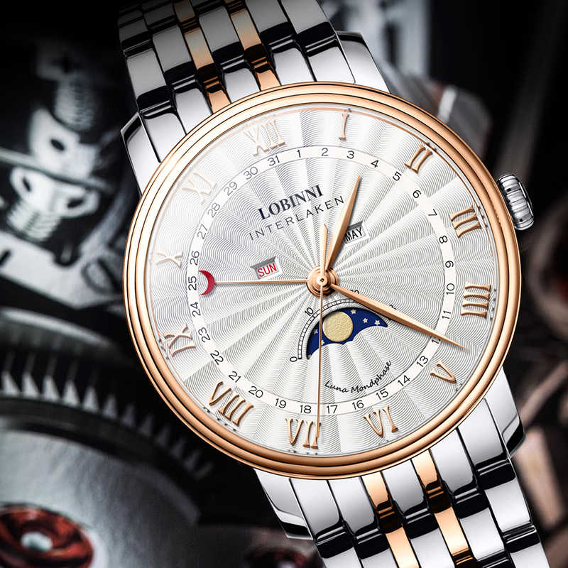 LOBINNI Mens Business 30M wodoodporne szafirowe lustro moda wielofunkcyjne zegarek kwarcowy z miesiącem, tygodniem, faza księżyca
