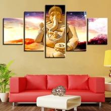 Modern HD Printing Pictures 5 Pieces India Tibetan Buddhism Ganesha Canvas Painting Modular Decor Living Room Wall Art Framework