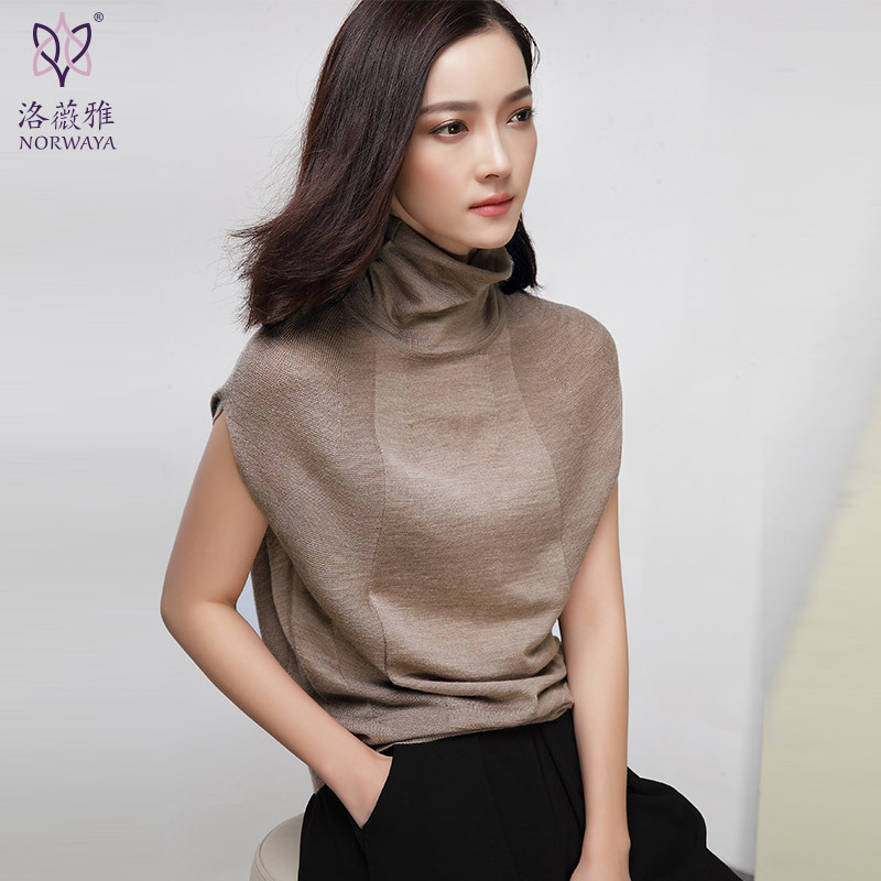 Luoweiya  primavera nueva mujer suéter de cuello alto de punto de manga corta ch