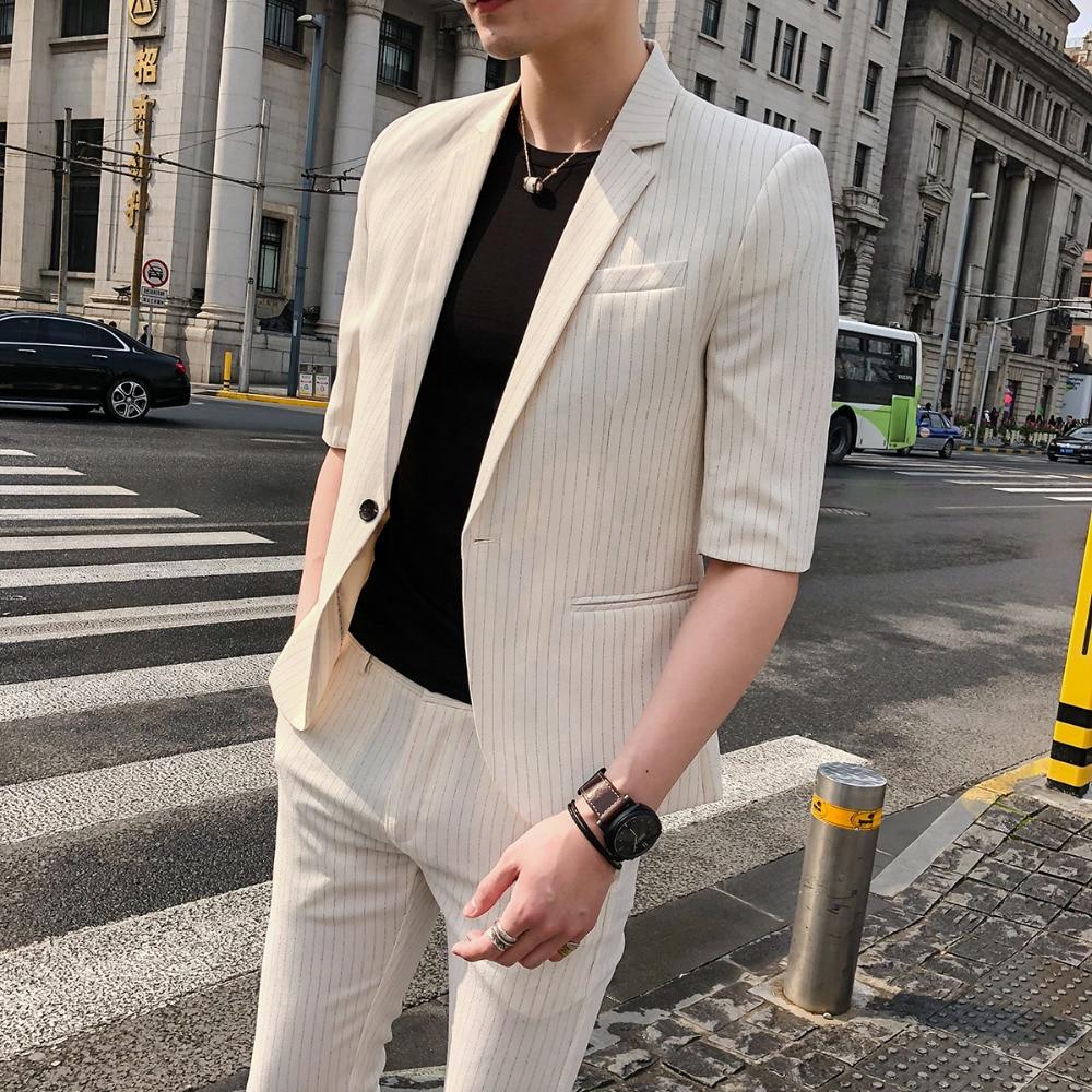 Série Coréenne avant Noir Pantalon Masculin Suit Mâle Costume blanc Jeunesse Été Manches Leisure Mince Section Mariage Affaires Étudiant ardoisé zqzrH8