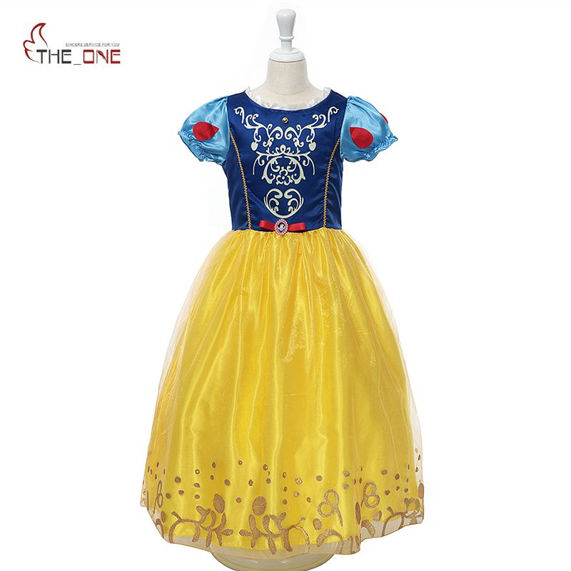 MUABABY Girls Snow White Costume Kids Summer Princess Ball Gown Children Short Sleeve Party Dresses Girl Cospaly Birthday Gift
