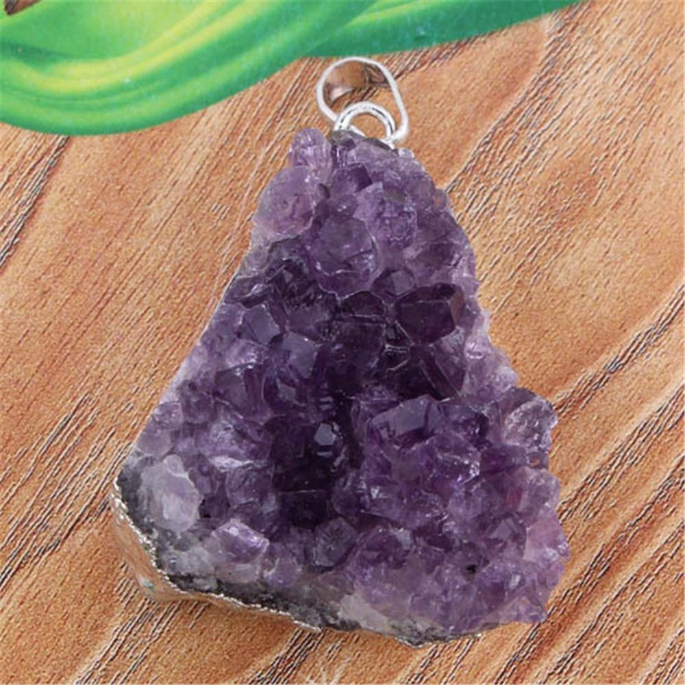 Naturlig lila Crystal Geode Quartz oregelbunden Crystal Druzy Cluster - Märkessmycken - Foto 4