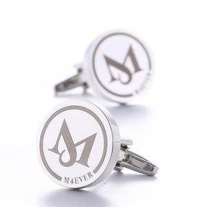 Image 2 - Gemelos de boda personalizados, redondos de plata, regalos de boda para novio, logotipo letras grabadas, palabras, joyas Gemelos