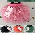 Baby Girl Verão Pequeno Arco Adesivo Malha Em Camadas Saia Curta Criança Babado Saia Fofa 2-cinco Anos