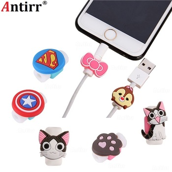 Cartoon USB Charger Cable Winder Protective Case 8Pin Data line Protector For iphone 6 6s 8 plus Earphone Cord Sleeve Wire Cover image