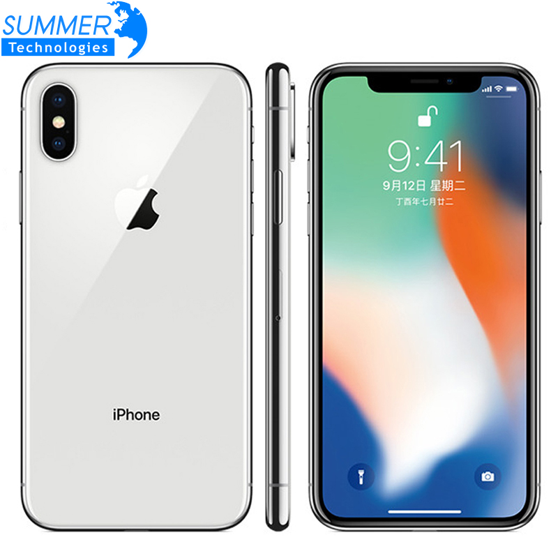 Original Unlocked Apple IPhone X Hexa Core Mobile Phone 256GB/64GB ROM 3GB RAM Dual Rear Camera 12MP 5.8