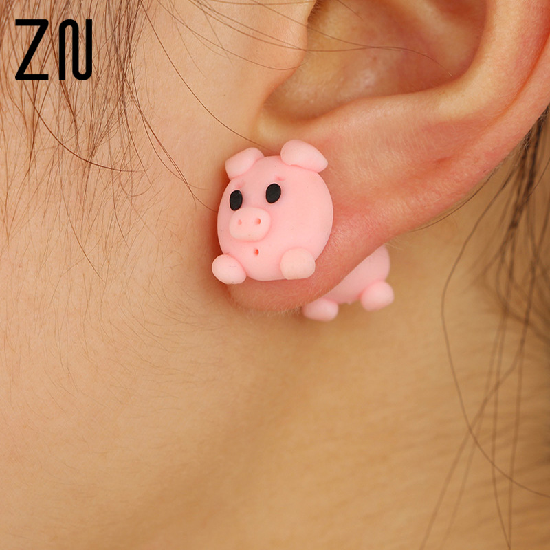 Hot Sale Handmade Polymer Clay Pink Cute Small Pig Stud Earrings For Women Fashion Animal Piercing Earring Jewelry